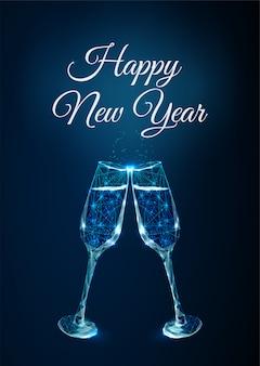 Cartolina d'auguri astratta di felice anno nuovo con bicchieri di tintinnio. stile basso poli