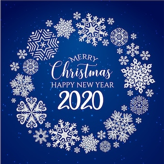 Cartolina d'auguri bianca e blu di buon natale e felice anno nuovo 2020