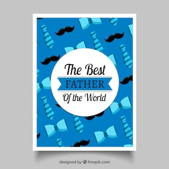 Cartolina d'auguri blu con cravatte e baffi per il giorno del padre