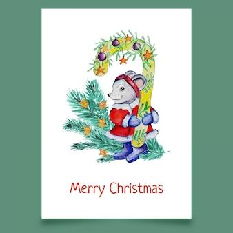 Cartolina d'auguri con il mouse e l'albero di natale