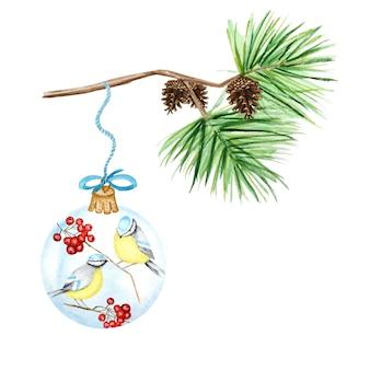 Cartolina d'auguri, concetto di poster di rami di pino e coni, palla di vetro di natale con sorbo rosso, cinciarella di uccelli invernali, illustrazione disegnata a mano dell'acquerello