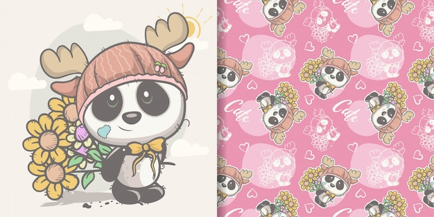 Cartolina d'auguri cute cartoon panda con seamless
