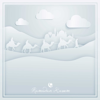 Cartolina d'auguri del fondo di progettazione islamica di ramadan kareem