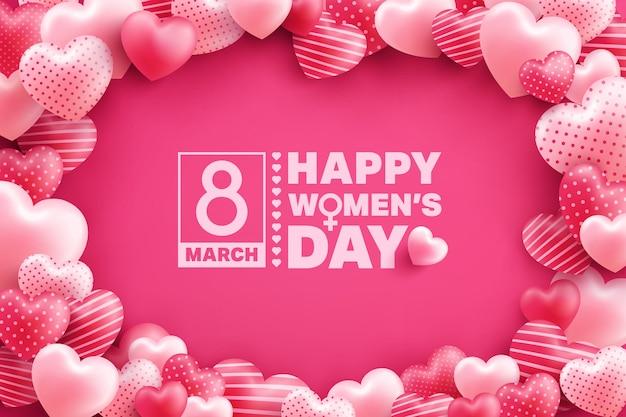 Cartolina d'auguri del giorno delle donne dell'8 marzo con molti innamorati sul rosa