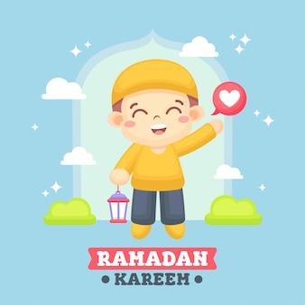 Cartolina d'auguri del ramadan con l'illustrazione sveglia del ragazzo