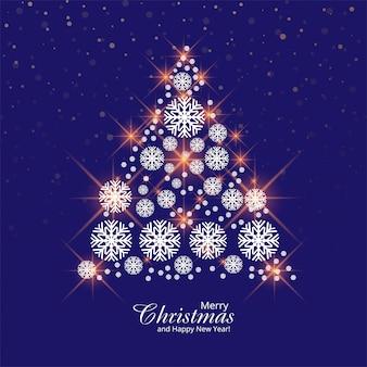 Cartolina d'auguri dell'albero di natale dei fiocchi di neve