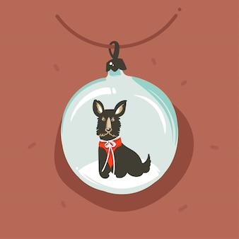 Cartolina d'auguri dell'illustrazione del fumetto di divertimento astratto disegnato a mano di buon natale e del buon anno con carattere divertente del cane nella bagattella del globo della neve su fondo marrone.