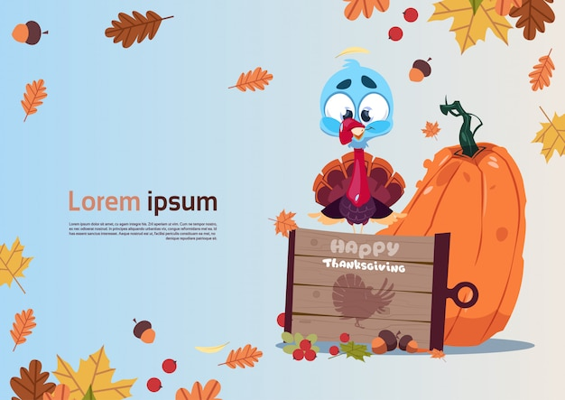Cartolina d'auguri di autumn traditional harvest happy day del ringraziamento con la turchia