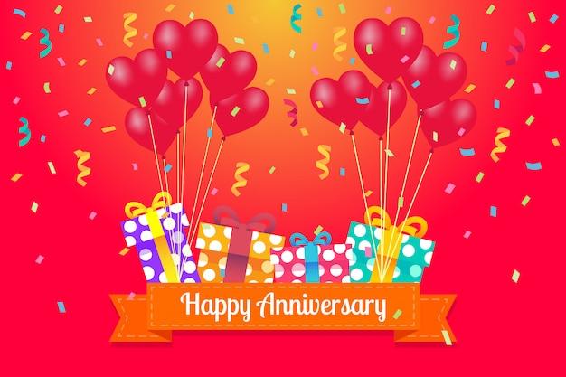 Cartolina d'auguri di buon anniversario con palloncini cuore