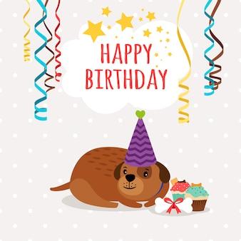 Cartolina d'auguri di buon compleanno cane e cupcakes