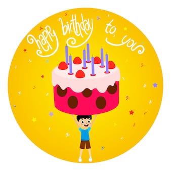 Cartolina d'auguri di buon compleanno con il ragazzo e l'illustrazione enorme della torta