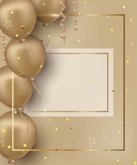 Cartolina d'auguri di buon compleanno con palloncini dorati sullo sfondo dorato.