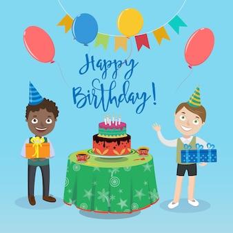 Cartolina d'auguri di buon compleanno con ragazzi e torta di compleanno.