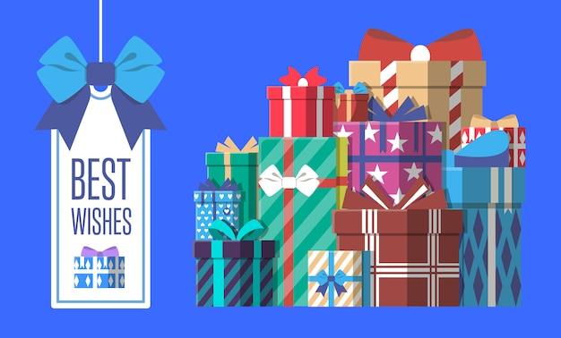 Cartolina d'auguri di buon compleanno con scatola regalo
