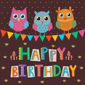 Cartolina d'auguri di buon compleanno con simpatici gufi e testo divertente