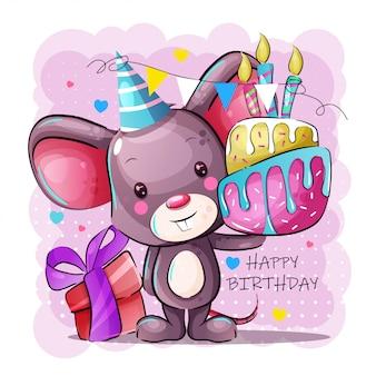 Cartolina d'auguri di buon compleanno con topo bambino simpatico cartone animato