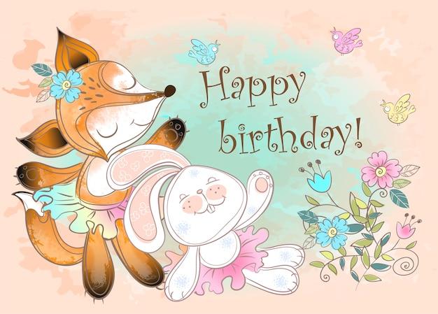 Cartolina d'auguri di buon compleanno con un coniglio e una volpe carina.
