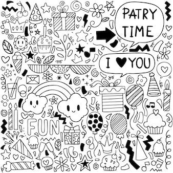 Cartolina d'auguri di buon compleanno doodle festa con elementi di disegno