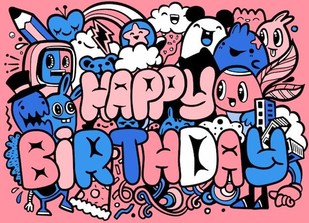 Cartolina d'auguri di buon compleanno e personaggi mostruosi. personaggi pazzi simpatici piccoli mostri