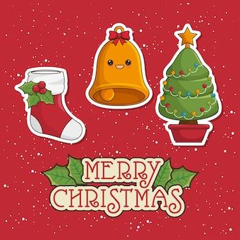 Cartolina d'auguri di buon natale con albero, campana e calzini