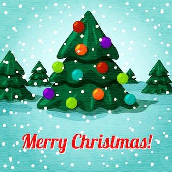 Cartolina d'auguri di buon natale con albero di natale carino, giocattoli e posto per il vostro testo. vettore