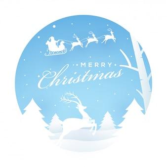 Cartolina d'auguri di buon natale con albero di natale e renne in esecuzione sulla neve.