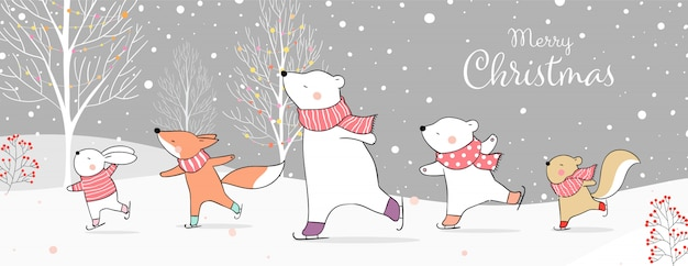 Cartolina d'auguri di buon natale con animali sui pattini da ghiaccio nella neve concetto di inverno.