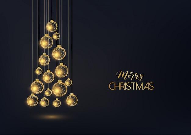 Cartolina d'auguri di buon natale con appendere bagattelle decorative dorate in una forma di albero di natale