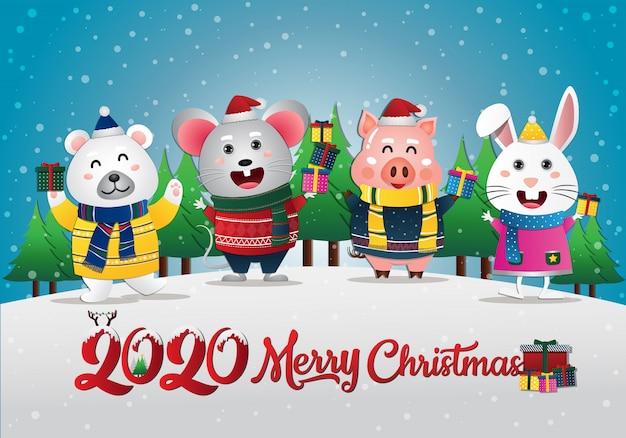 Cartolina d'auguri di buon natale con coniglio orso ratto e maiale