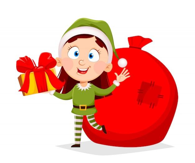 Cartolina d'auguri di buon natale con elfo divertente signora