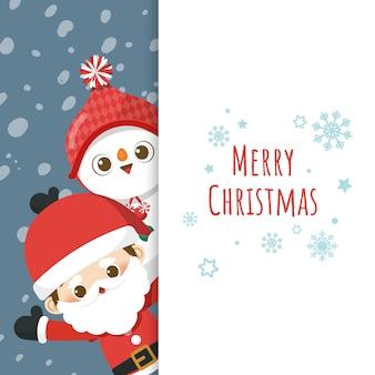 Cartolina d'auguri di buon natale con simpatico personaggio dei cartoni animati piccolo babbo natale e pupazzo di neve