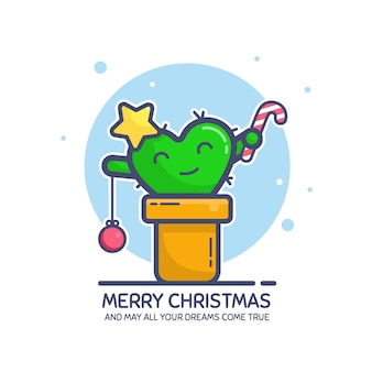 Cartolina d'auguri di buon natale con testo mey tutti i tuoi sogni diventano realtà. simpatico personaggio di cactus in un vaso decorato come abete. arte linea piatta, colorata. illustrazione, isolata su bianco