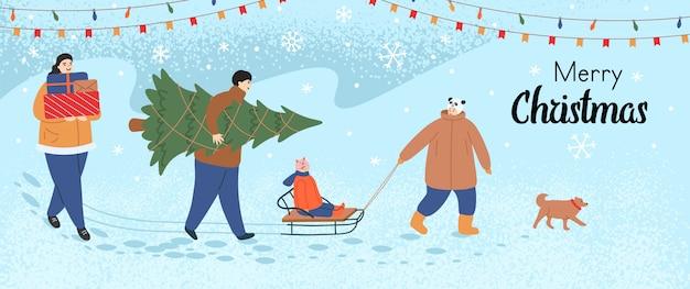 Cartolina d'auguri di buon natale con una passeggiata in famiglia. mamma e papà stanno portando regali e un albero di natale, il ragazzo sta tirando la slitta con la bambina sopra. il cane cammina davanti. fumetto di vettore.
