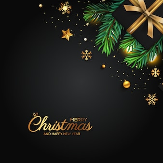 Cartolina d'auguri di buon natale di decorazione nera e dorata