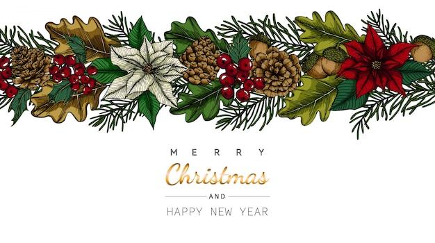 Cartolina d'auguri di buon natale e capodanno con fiori e foglie