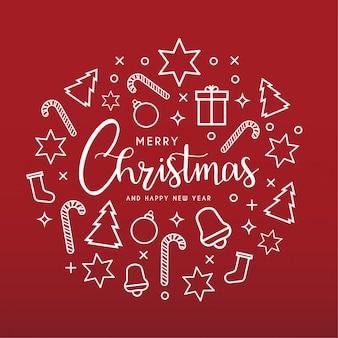 Cartolina d'auguri di buon natale e felice anno nuovo pulito con icone