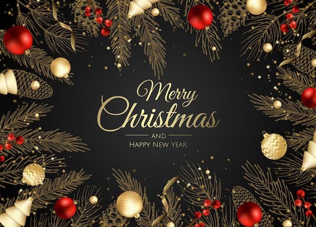 Cartolina d'auguri di buon natale e felice anno nuovo rami d'oro