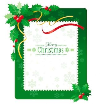 Cartolina d'auguri di buon natale verde con bacche di agrifoglio.