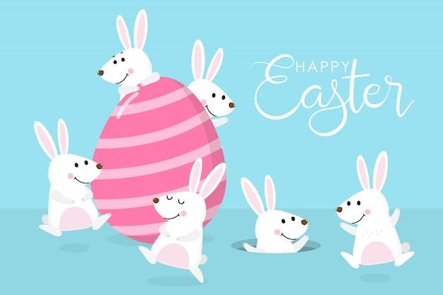 Cartolina d'auguri di buona pasqua con coniglietto bianco carino, uova colorate
