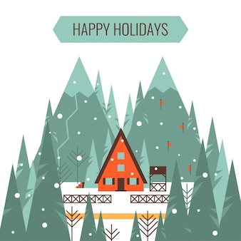 Cartolina d'auguri di buone feste con la vacanza di vacanza invernale e l'illustrazione di vettore di concetto di corsa con gli sci.