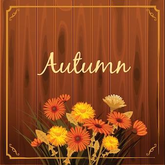Cartolina d'auguri di caduta dei denti di leone della camomilla dei fiori di autunno