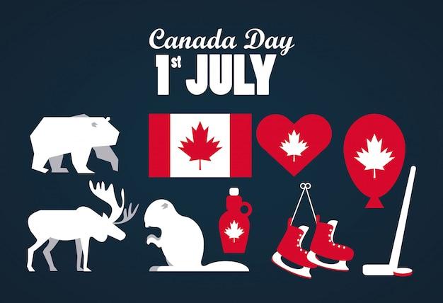 Cartolina d'auguri di celebrazione di giorno del primo luglio canada con la bandiera e icone stabilite