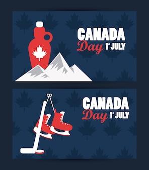 Cartolina d'auguri di celebrazione di giorno del primo luglio canada con le montagne e lo sciroppo d'acero