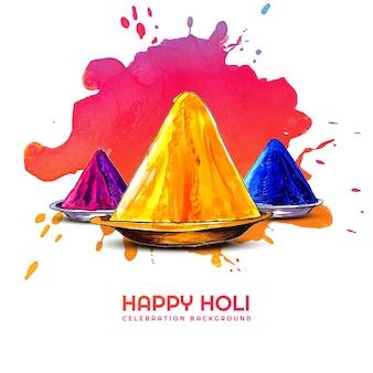 Cartolina d'auguri di celebrazione di holi festival of colors