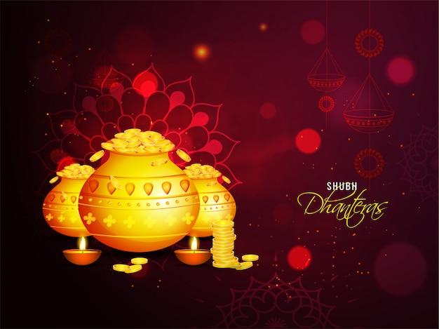 Cartolina d'auguri di celebrazione di shubh (felice) dhanteras con vasi di monete d'oro e lampade a olio illuminate (diya) su sfondo marrone effetto luce mandala.