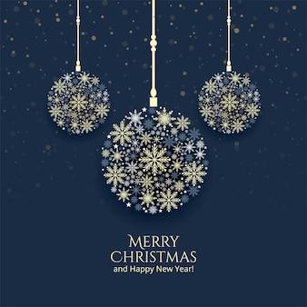 Cartolina d'auguri di celebrazione palla decorativa fiocchi di neve