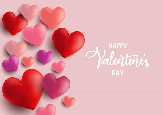 Cartolina d'auguri di cuori di san valentino