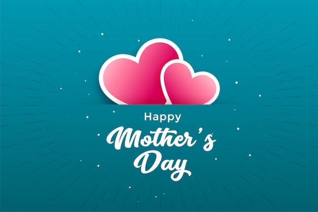 Cartolina d'auguri di cuori festa della mamma felice
