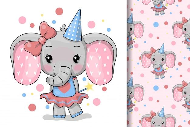 Cartolina d'auguri di elefante simpatico cartone animato. design per carta di festa, stampa, poster. illustrazione vettoriale di animali domestici