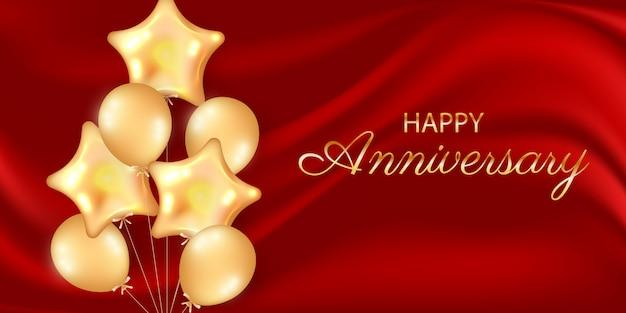 Cartolina d'auguri di felice anniversario con palloncini dorati